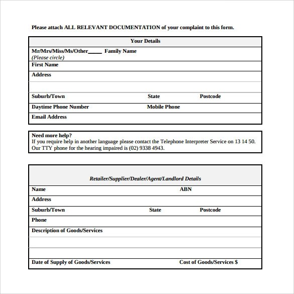 5 Sample FTC Complaint Forms Download for Free Sample Templates