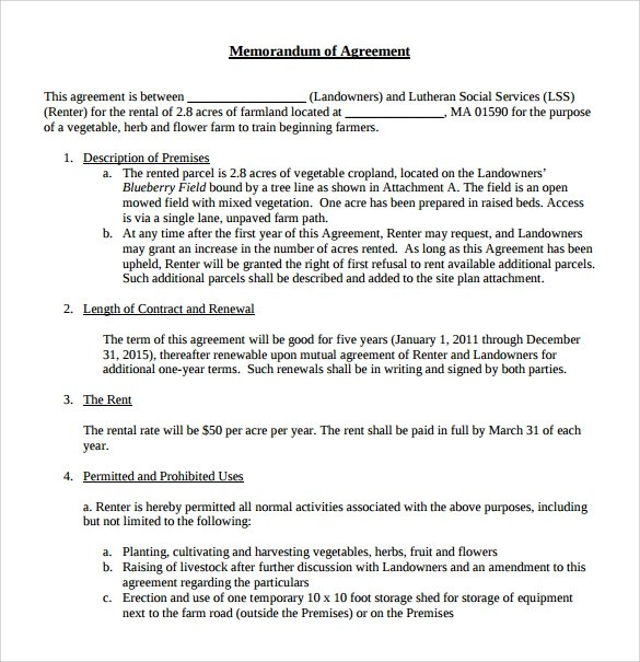 10+ Memorandum of Lease Agreement \u2013 Samples, Examples  Format - mutual agreement contract sample