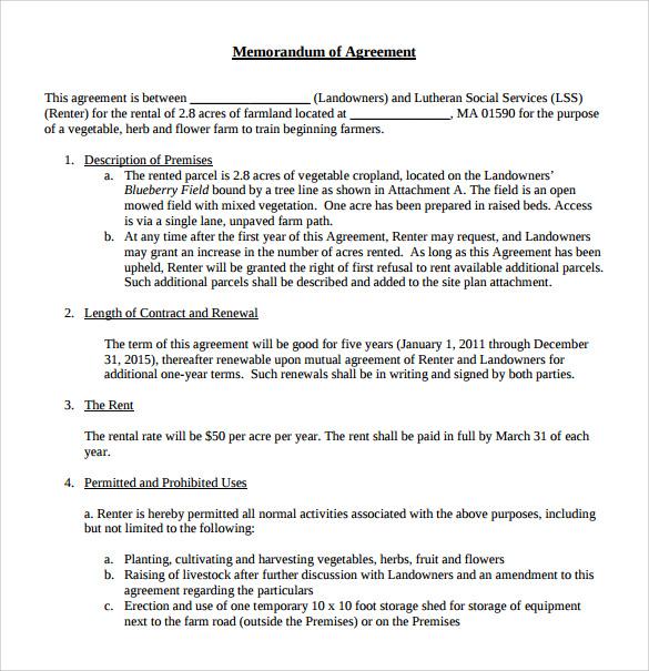 Sample Memorandum of Lease Agreement - 9+ Free Documents in PDF, Word