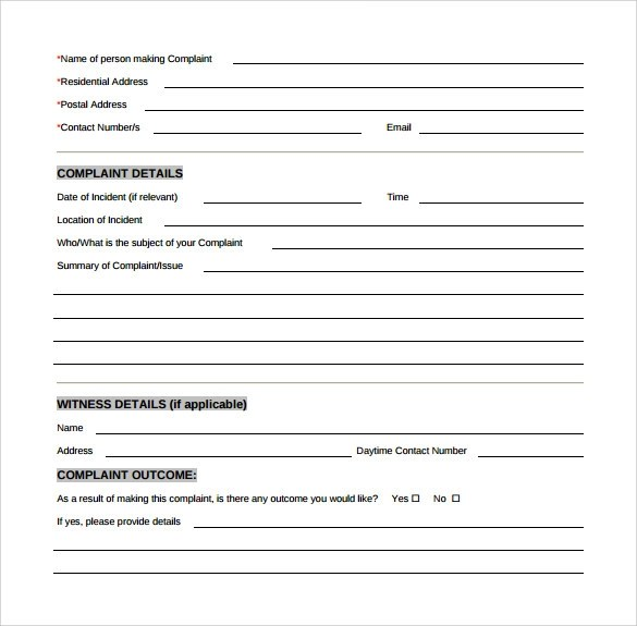 8+ Customer Complaint Form Examples Sample Templates