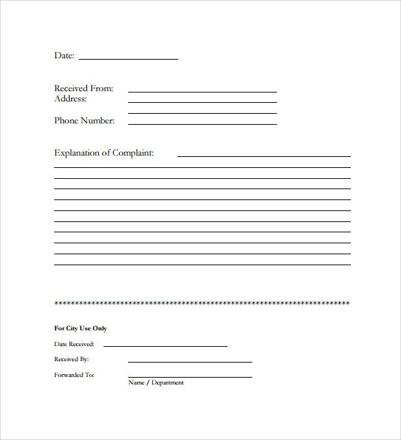 ... Sample Civil Complaint Form Complaint (Page 1, Federal Civil   Sample  Harassment Complaint Form ...  Customer Complaints Form Template