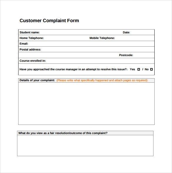 Charmant ... Sample Customer Complaint Form Examples   7+ Free Documents In PDF   Complaint  Forms Template ...