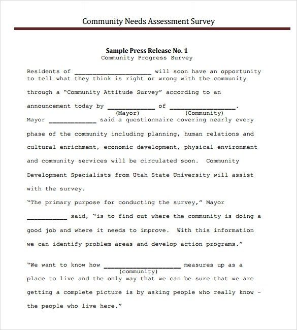 Sample Needs Assessment Survey Template \u2013 8+ Free Documents in PDF