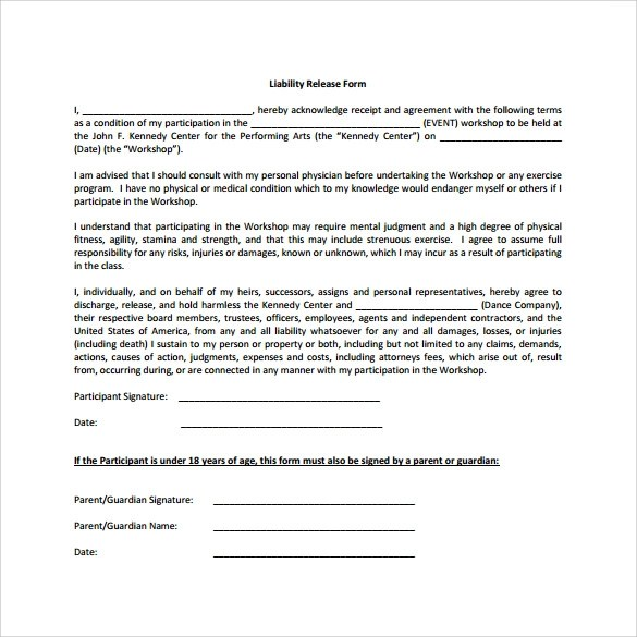 product liability waiver template - free release of liability form