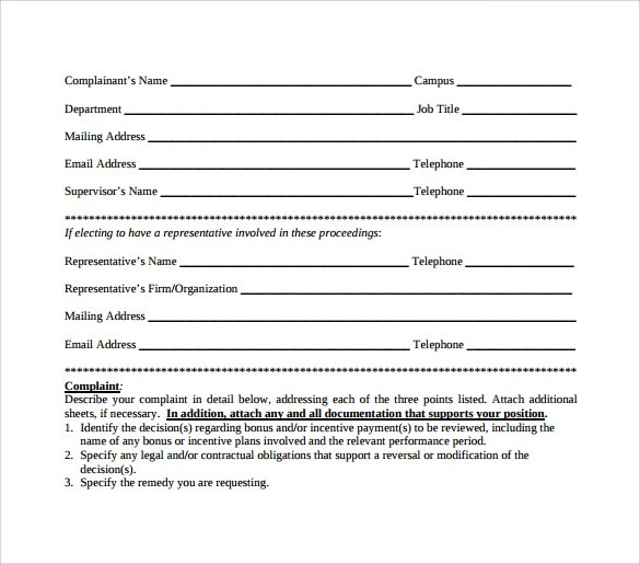 Sample Employee Complaint Forms - 8+ Download Free Documents in PDF