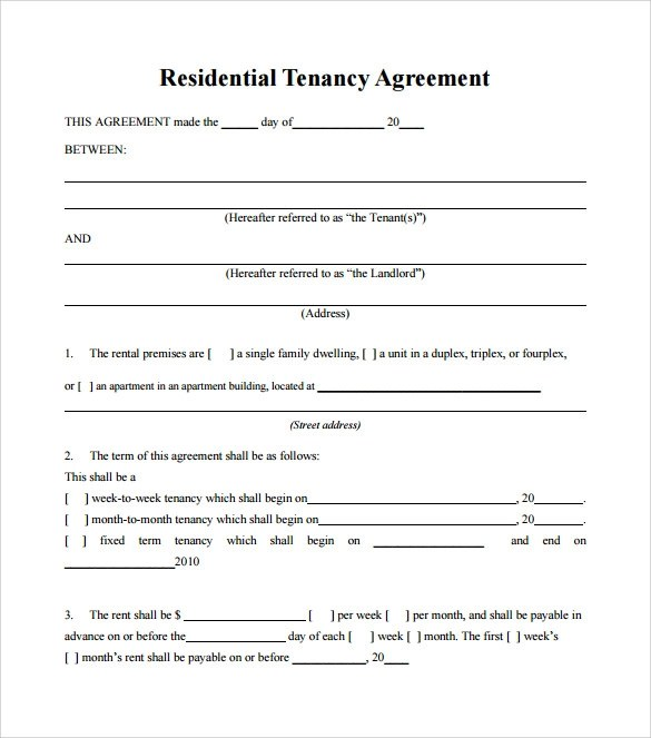 8 Tenant Lease Agreement Template to Download Sample Templates - tenant lease agreement
