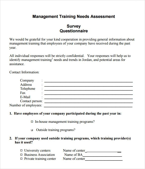 8+ Needs Assessment Survey Templates \u2013 Samples, Examples  Format