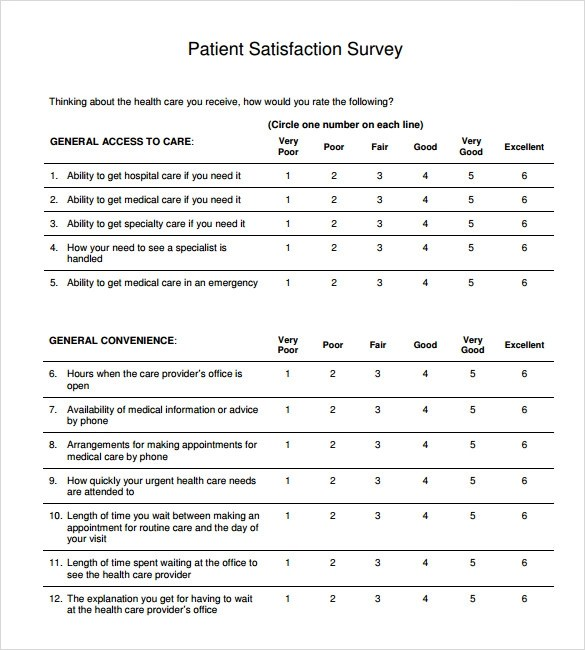Sample Patient Satisfaction Survey - 10+ Documents in PDF, Word