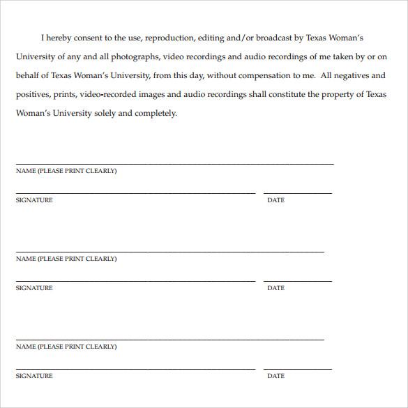 Ups Signature Release Form Standard Print Release Form Sample - sample print release form example
