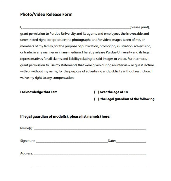 Video Release Forms - videography contract template