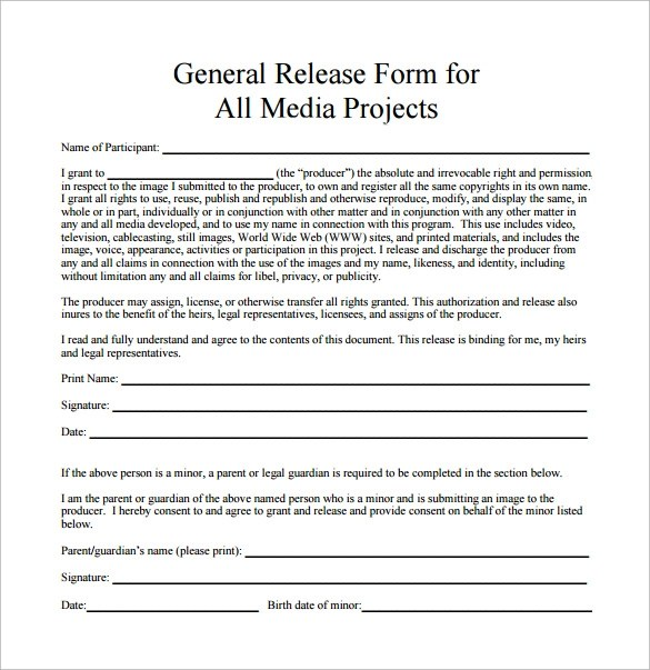 10 Sample General Release Forms To Download Sample Templates - general release form template