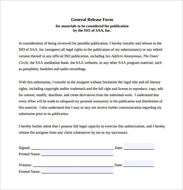 General Release Form sample general release form - ppyr general