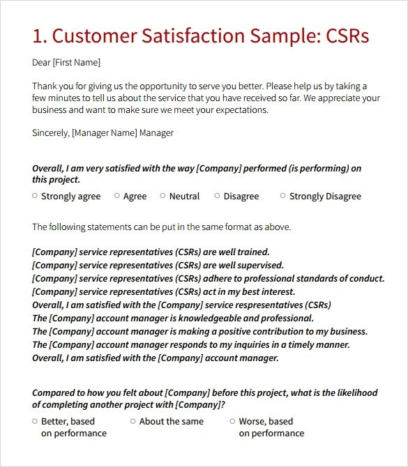 7+ Customer Survey Samples Sample Templates - sample client satisfaction survey