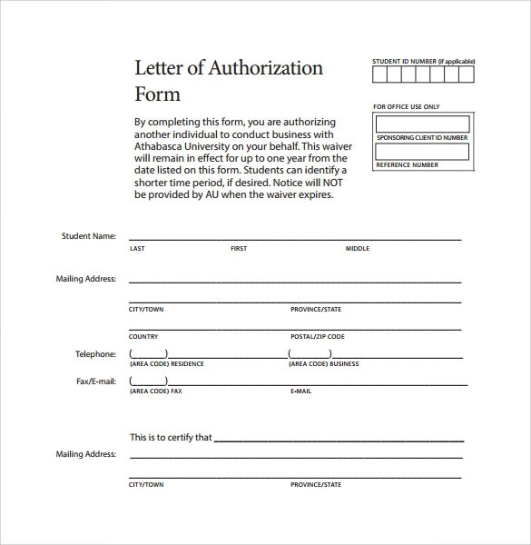 9 Letter of Authorization Form Example Download for Free Sample - Letter Of Authorization Form