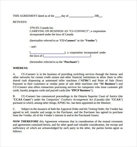 10+ Sample Business Purchase Agreements Sample Templates