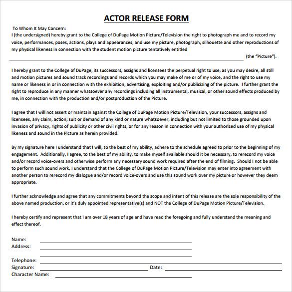 7 Actor Release Form Sample 8 Examples in WordPDF - mandegarinfo