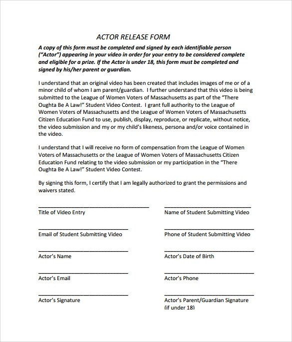 Actor Release Form Actor Release Form Amber Crimmins Mediar Release - Actor Release Forms