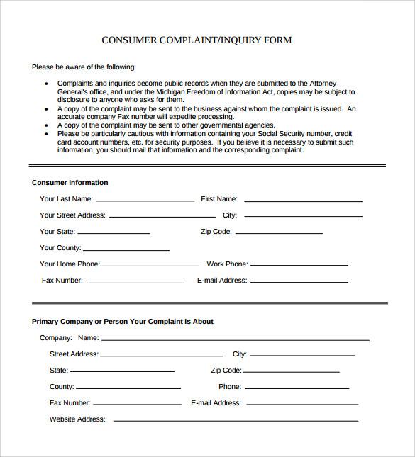 civil complaint form hitecauto - sample consumer complaint form