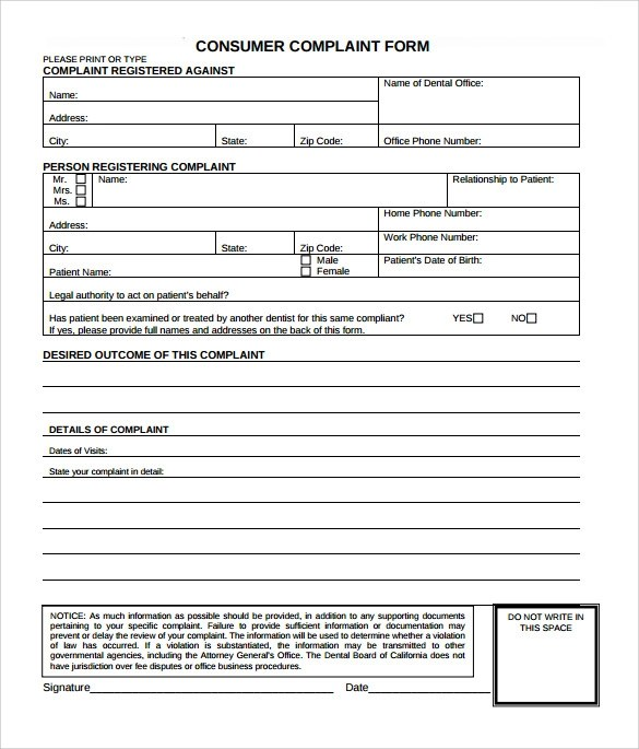 8 Sample Consumer Complaint Forms to Download Sample Templates