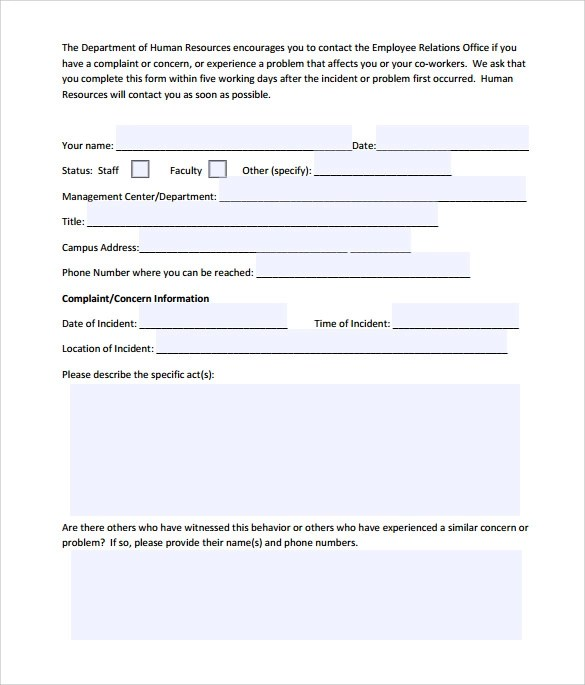 8 Employee Complaint Form Templates to Download Sample Templates