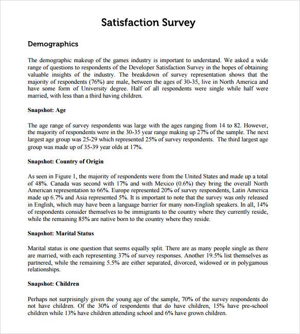 Sample Employee Satisfaction Survey \u2013 5+ Example, Format