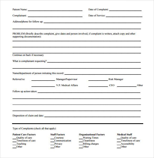 Sample Patient Complaint Form Complaint Letter Generator Custom - sample consumer complaint form