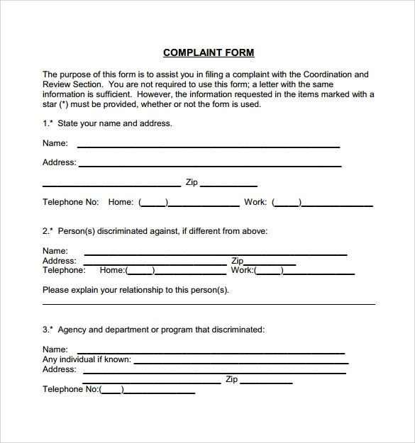Sample Civil Complaint Form Landlord Complaint Form Example