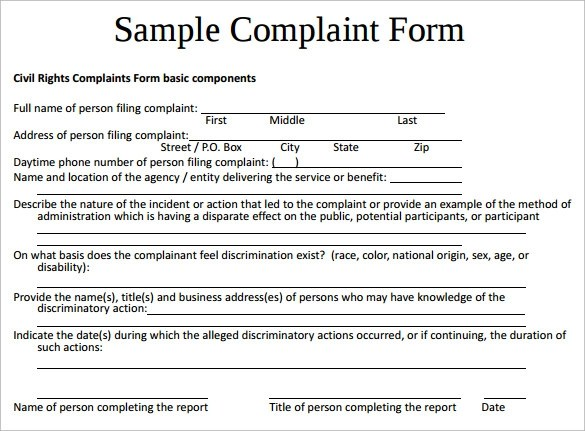sample complaint form template