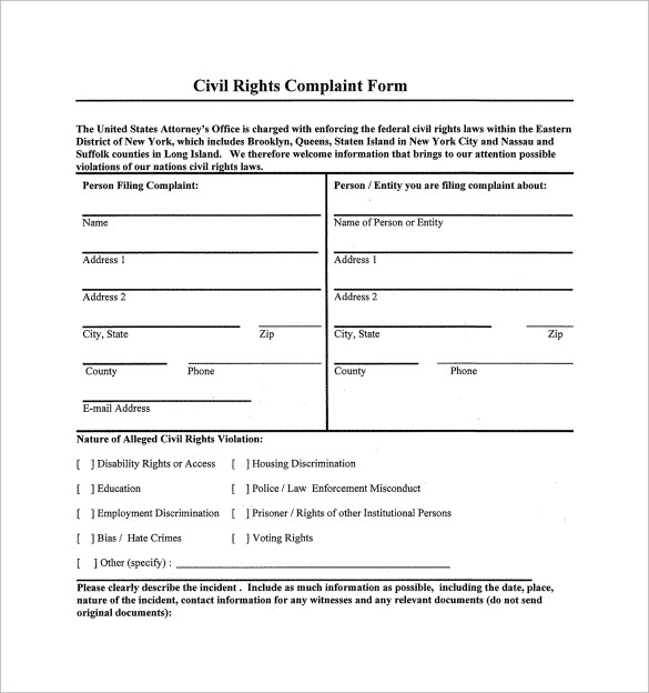 7 Sample Civil Complaint Forms to Download Sample Templates
