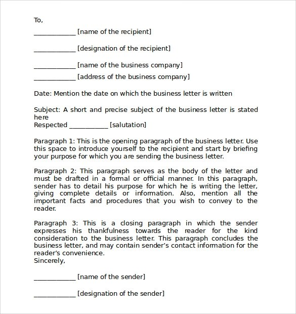 7+ Personal Business Letter Format Samples Sample Templates - Business Letter Example