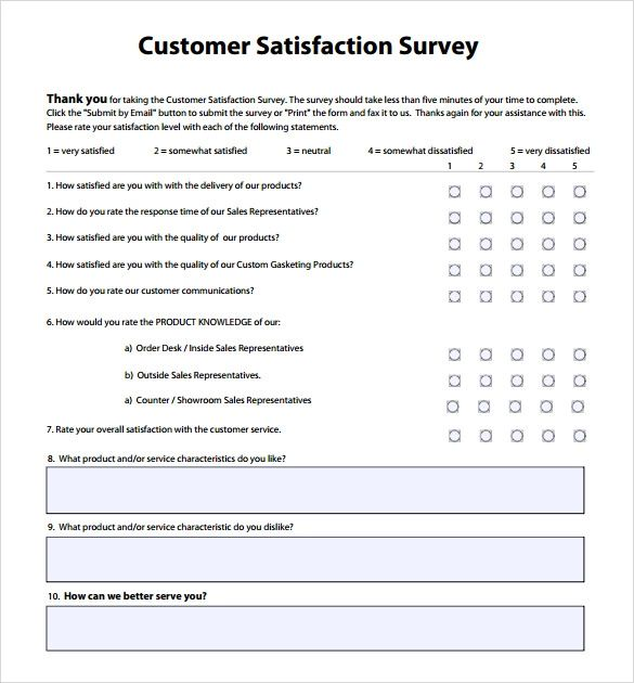 customer satisfaction questionnaire template word