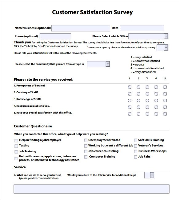 Doc.#600600: Free Customer Satisfaction Survey Template – 10