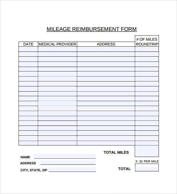 travel reimbursement template