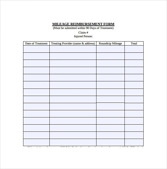 9 Mileage Reimbursement Form Download for Free Sample Templates - Mileage Reimbursement Forms