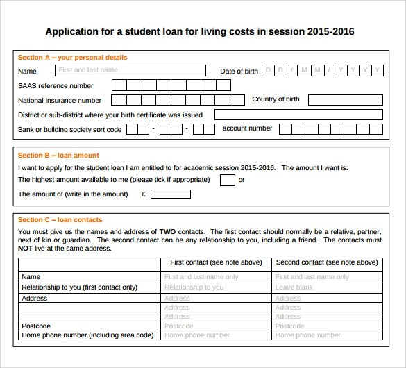 Sample Students Loan Application Form - 7+ Download Free Documents