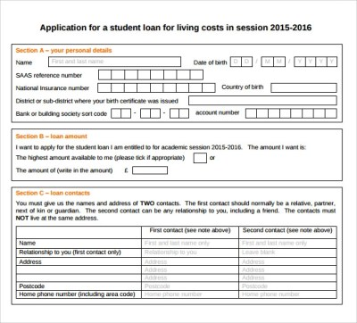 8 Students Loan Application Forms to Download for Free | Sample Templates
