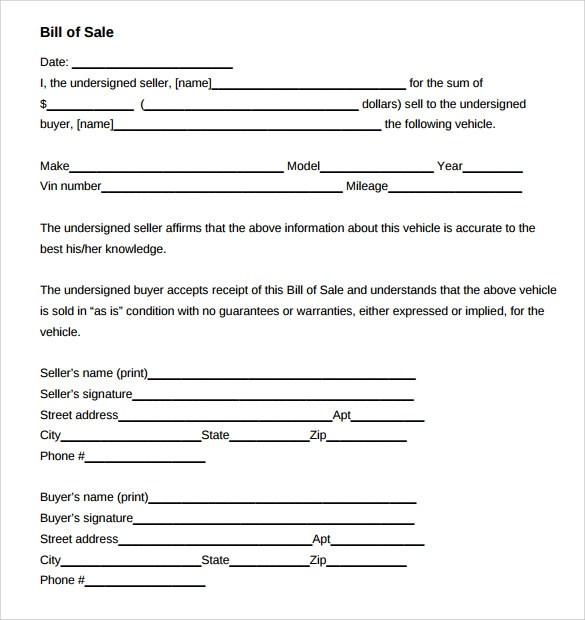 8 Car Bill of Sale Templates for Legal Purposes Download for free