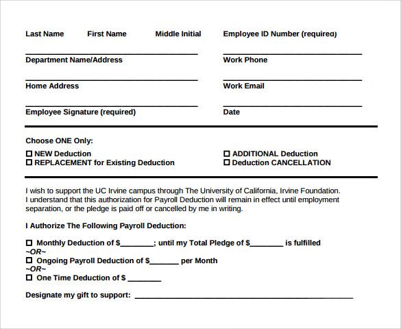 payroll deduction template - Canasbergdorfbib