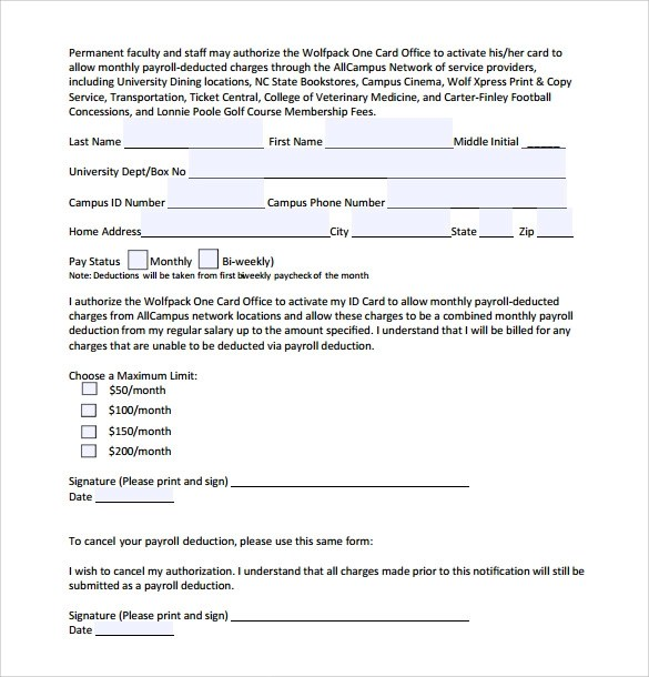 Sample Payroll Deduction Form - 10 Download Free Documents In PDF, Word