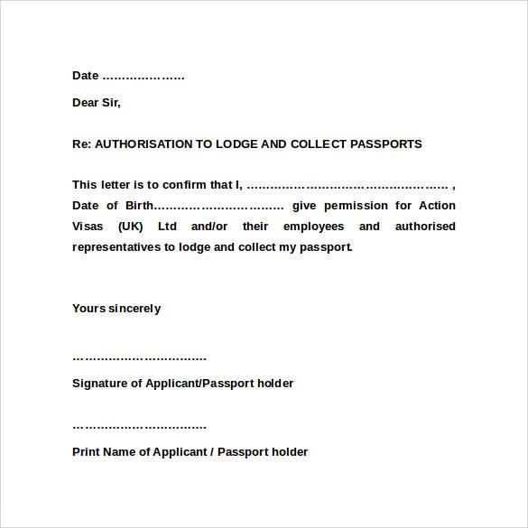 9+ Sample Passport Authorization Letters \u2013 PDF, DOC Sample Templates - passport authorization letter