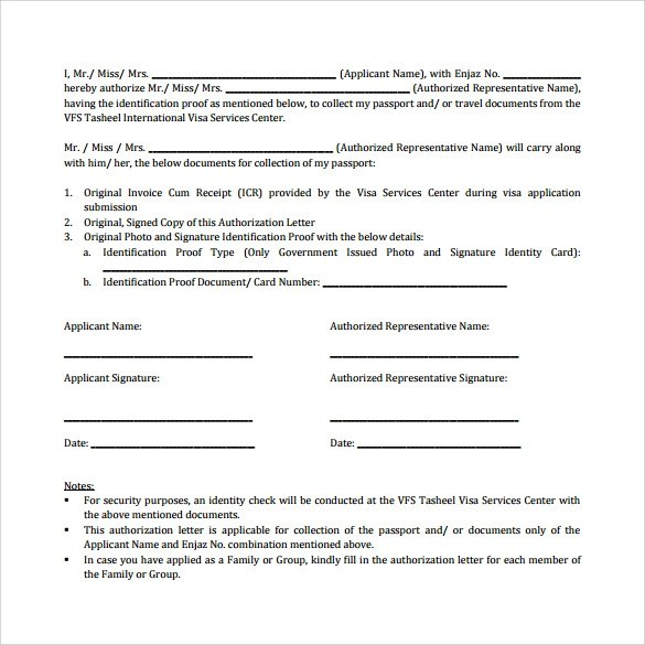9+ Sample Passport Authorization Letters \u2013 PDF, DOC Sample Templates