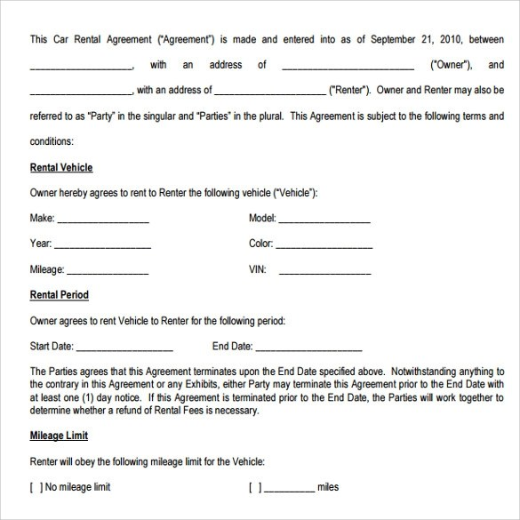 Car Rental Agreement Sample Rental Agreement (Lr Page 5 Of 6); 6 - auto purchase agreement template