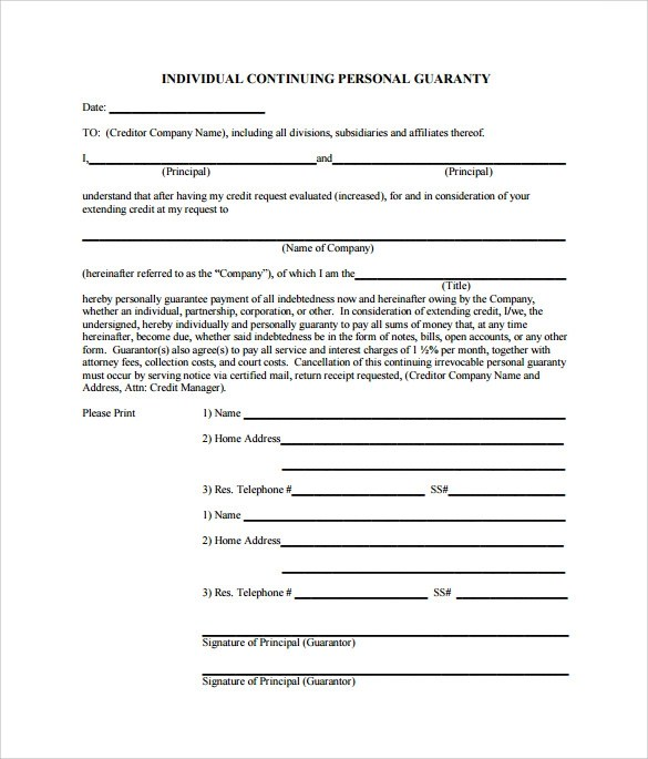 Personal Guarantee Business Form – Personal Guarantee Form