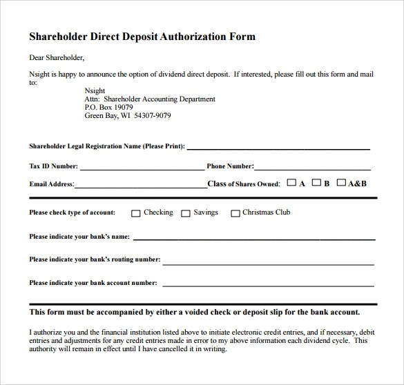 8 Direct Deposit Authorization Forms Download for Free Sample - direct debit form