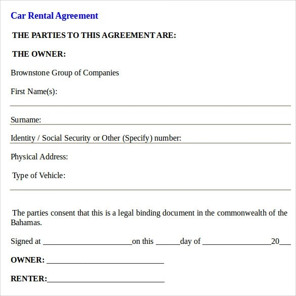 Car Rental Agreement Template | Create Professional Resumes Online
