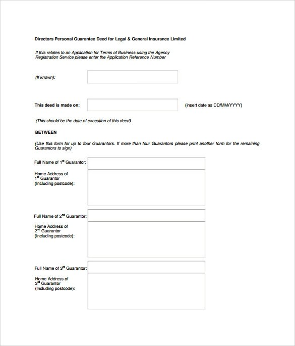 Individual Personal Guarantee Form   Legal Cover Letter Sample