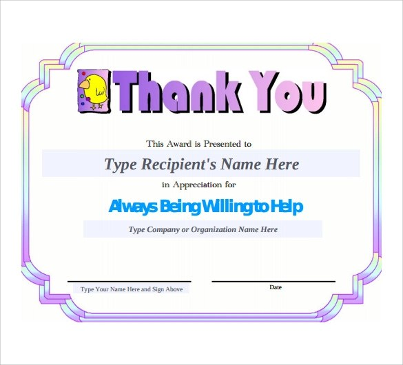 11+ Thank You Certificate Templates Sample Templates - thank you certificate template