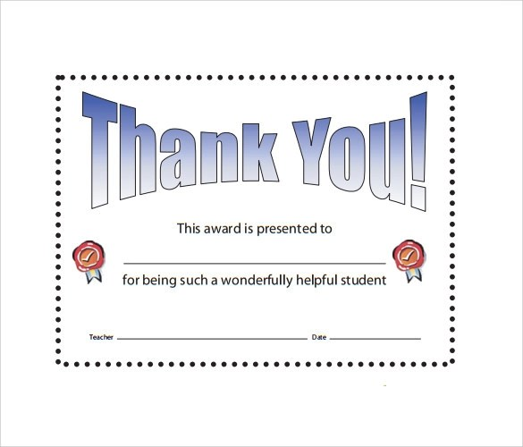 Sample Thank You Certificate Template - 10+ Documents Download in