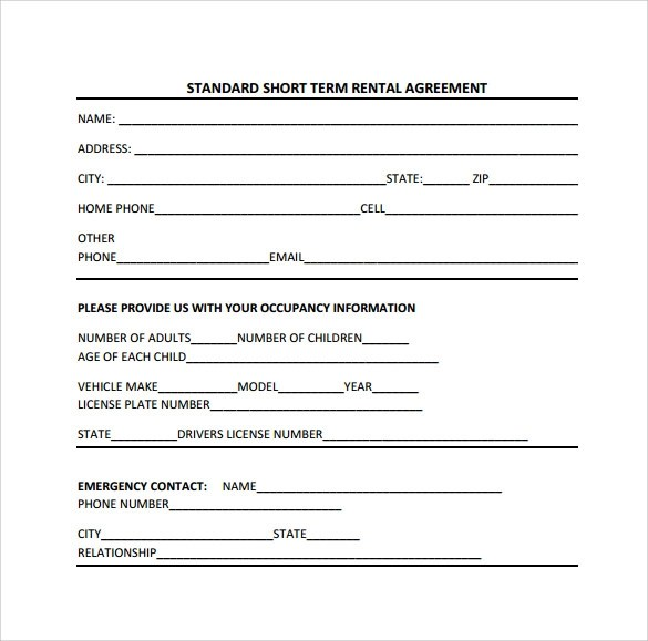 Sample Short Term Rental Agreement - 9+ Free Documents in PDF, Word