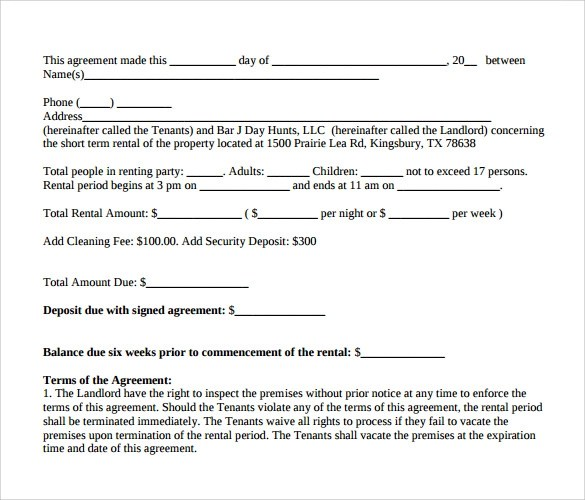 Sample Vacation Rental Agreement Form | Create Professional